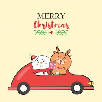 Trouwen kerstkaart sneeuwpop en rendieren op de rode auto cartoon hand getrokken.