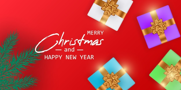 Trouwen kerstmis en gelukkig nieuwjaarskaart. kerst banner. Premium Vector