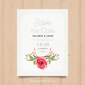 Trouwen uitnodiging met waterverf roos