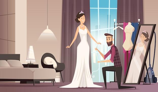 Trouwjurk passen. naaister maken jurk voor schoonheid bruid kleermaker workshop kleding cartoon
