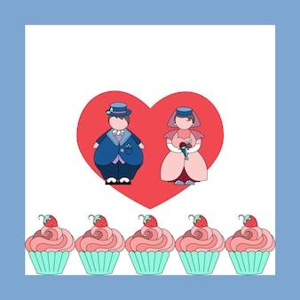 Trouwkaart met bruid en bruidegom schattige cap cake met aardbeien hand getrokken doodle stijl