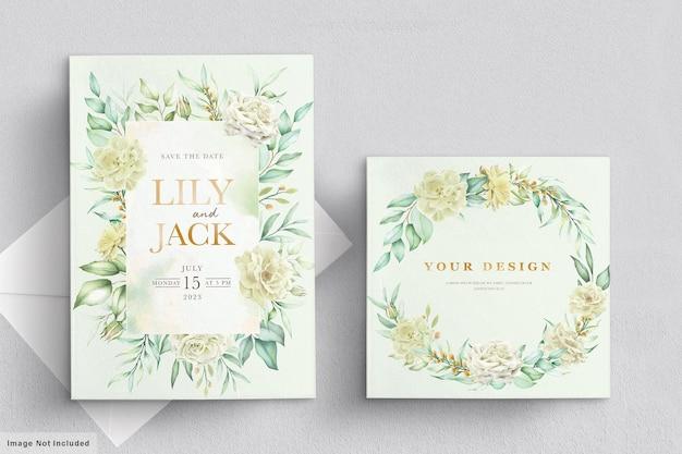 Trouwkaart met groene bloemen Premium Vector