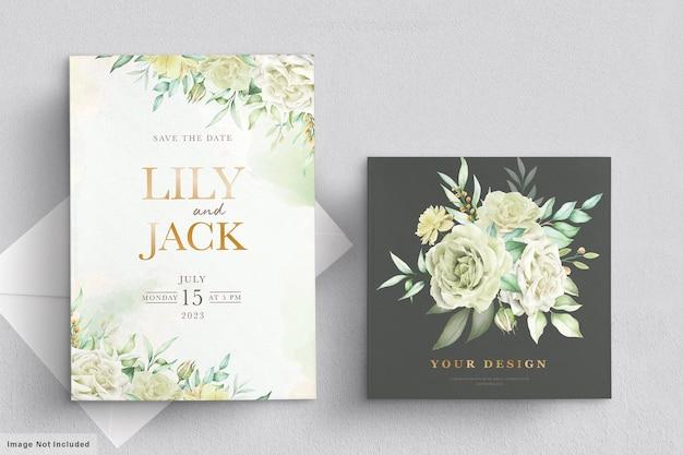 Trouwkaart met groene bloemen
