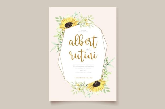 Trouwkaart met handgetekende aquarel zonnebloem