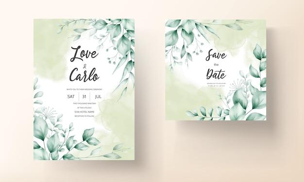 Trouwkaart met mooie bladdecoratie