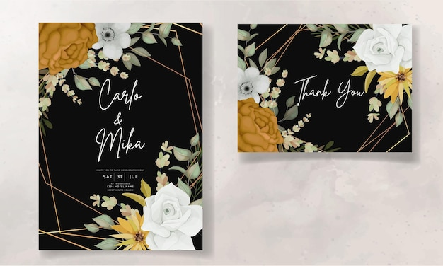 Trouwkaart met mooie herfstbloemen