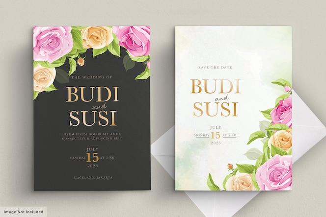 Trouwkaart met roze bloemen