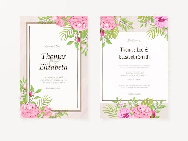 Trouwkaart met rozen en bladeren