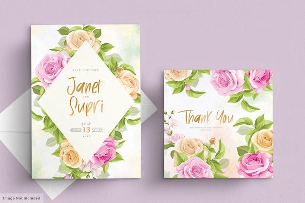 Trouwkaart met zachtroze rozen