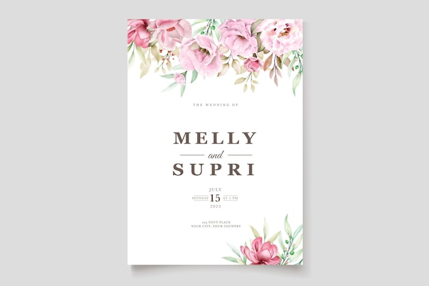 Trouwkaart set met prachtige aquarel bloemen