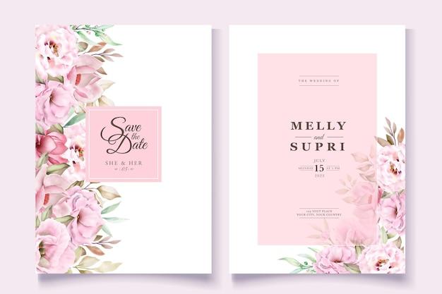 Trouwkaart set met prachtige aquarel bloemen Gratis Vector