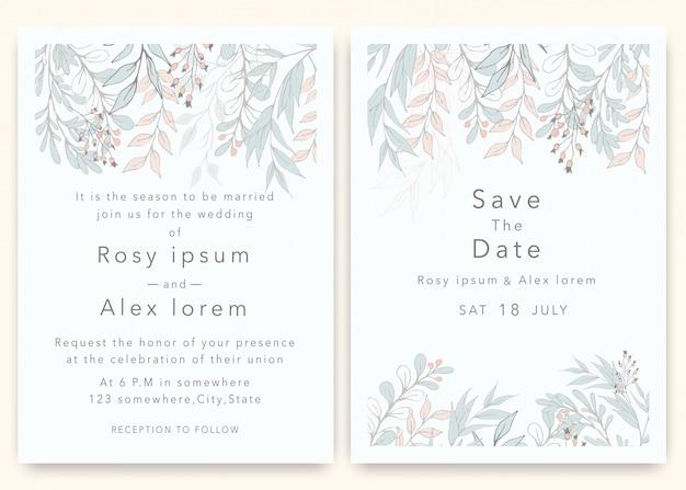 Trouwkaarten bewaren de datumkaart met elegante tuinanemoon.