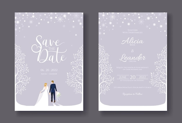 Trouwkaarten uitnodiging bewaar de datumsjabloon bruid en bruidegom wandelen in de winterdag