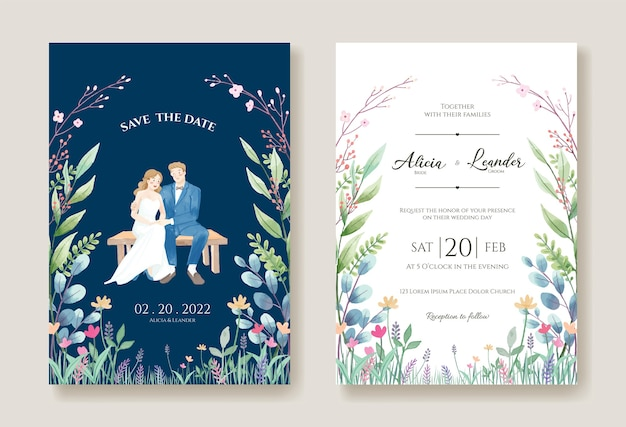 Trouwkaarten, uitnodigingssjabloon. bruid en bruidegom pre-bruiloft afbeelding.