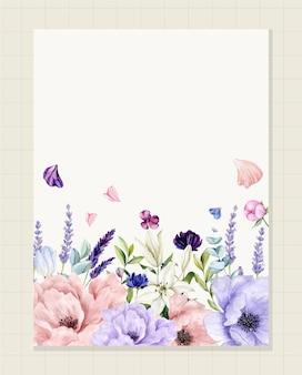 Trouwkaartsjabloon geschilderd in aquarel