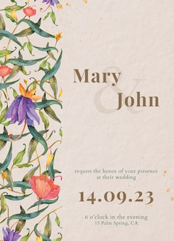 Trouwkaartsjabloon met aquarel pauwen en bloemen