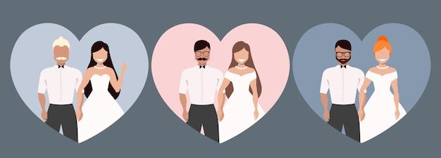 Trouwkoppel. bruid en bruidegom. verschillende paren in de vorm van een hart. mensen met rood, bruin en blond haar. trendy uitnodigingsontwerp. hand getekende moderne illustraties.