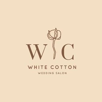 Trouwlogo's in minimale trendy stijl. liner bloemenlabels en badges - vectorpictogram, sticker, stempel, label met katoenen bloem voor trouwsalon- en bruidswinkeljurken
