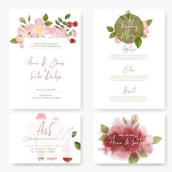 Trouwpakket, vier kaarten ontwerpen met rozen