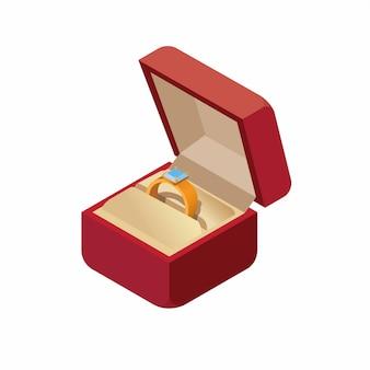Trouwring in een doos isometrische pictogram illustratie geïsoleerd