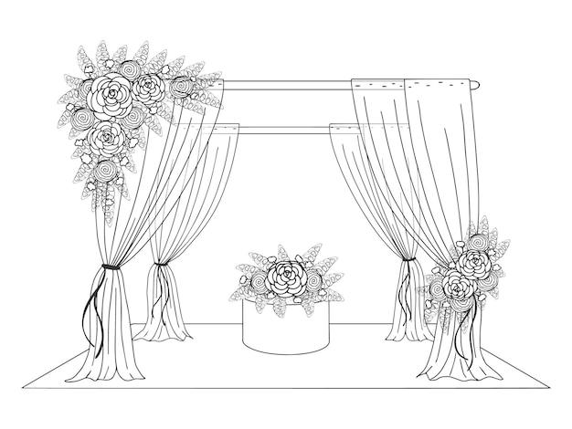 Trouwtent versierd met bloemen. hand getekende afbeelding. grafische lijnstijl. vector illustratie. geïsoleerd op wit.
