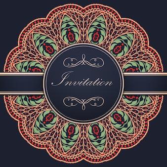 Trouwuitnodiging en aankondigingskaart met ornamentele ronde kant met arabesque elementen. mehndi stijl. orient traditionele ornament. zentangle-achtige ronde gekleurde bloemenornament.