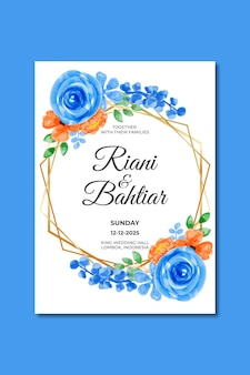 Trouwuitnodiging met aquarel blauworanje bloemen