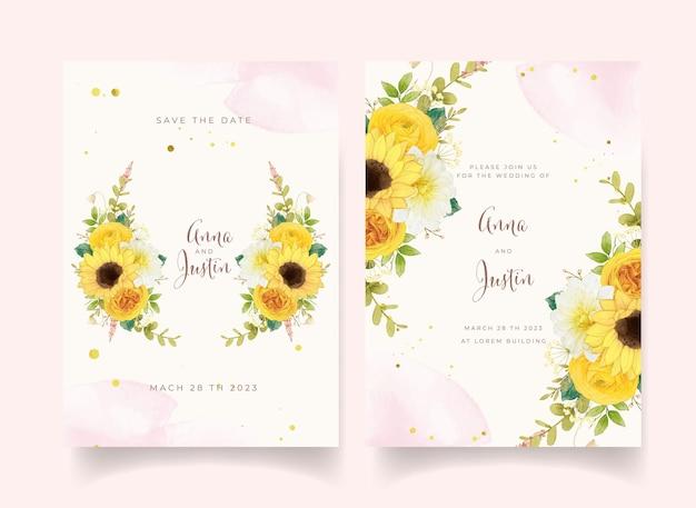 Trouwuitnodiging met aquarel gele bloemen