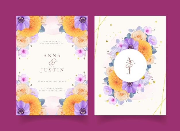 Trouwuitnodiging met aquarel paarse en gele bloemen