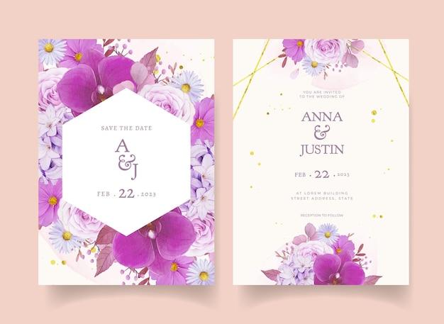 Trouwuitnodiging met aquarel paarse roos en orchidee