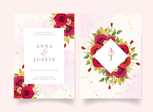 Trouwuitnodiging met aquarel rode rozen