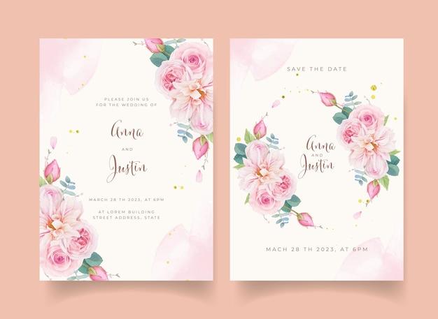 Trouwuitnodiging met aquarel roze rozen en dahlia