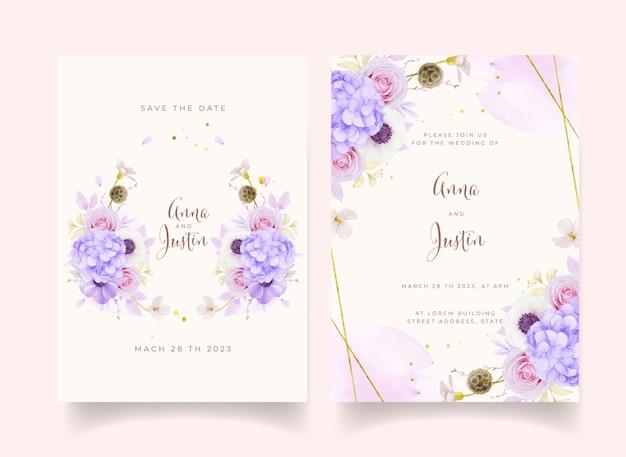Trouwuitnodiging met aquarel roze rozen