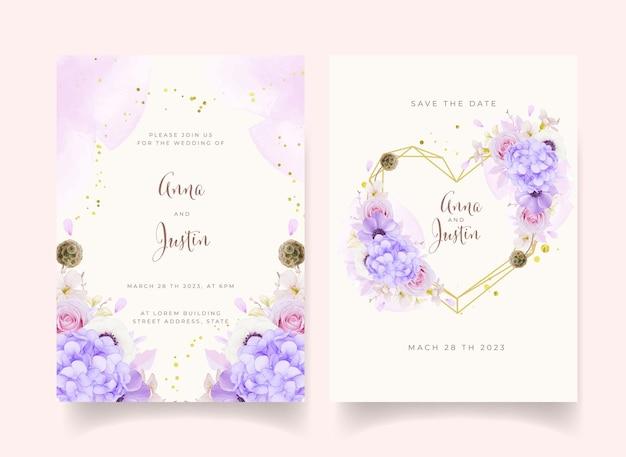 Trouwuitnodiging met aquarel roze rozen Gratis Vector