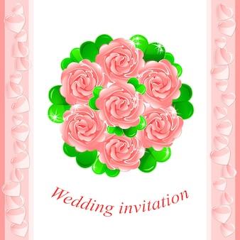 Trouwuitnodiging met een mooi bruidsboeket van roze rozen