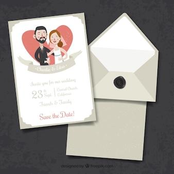 Trouwuitnodiging met paar, hart en lint