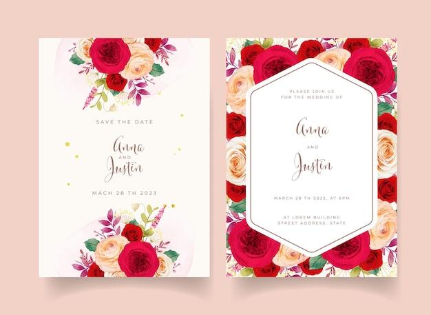 Trouwuitnodiging met rode rozen bloemen