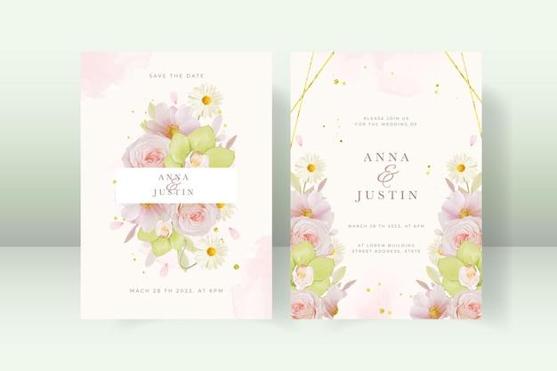 Trouwuitnodiging met roos en groene orchidee