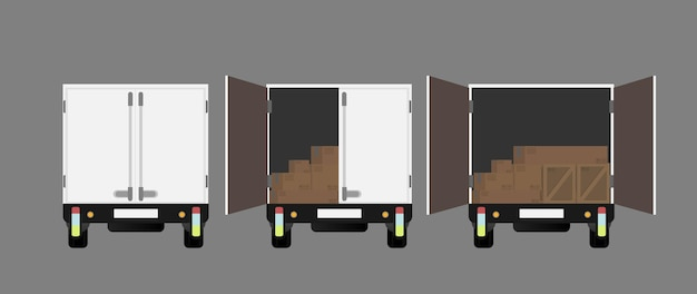Truck achteraanzicht. open vrachtwagen. element voor ontwerp rond het thema transport en levering van goederen. geïsoleerd. .