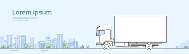Truck car on road cargo verzending levering concept banner