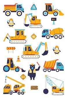 Truck graafmachine bulldozer backhoe zware machines voertuig verkeer speelgoed voor kinderen illustratie children