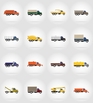 Truck plat pictogrammen vector illustratie
