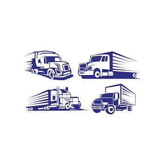 Truck trailer logo transport - inspiration vector van