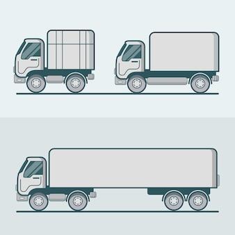 Truck vrachtwagen bestelwagen wegtransport set. lineair veelkleurig lijnoverzicht plat