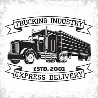 Trucking bedrijfslogo ontwerp bezorgbedrijf print stempels Premium Vector