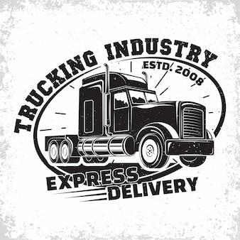Trucking bedrijfslogo-ontwerp, embleem van vrachtwagenverhuurorganisatie, postzegels van bezorgbedrijf, typografisch embleem van zware vrachtwagens