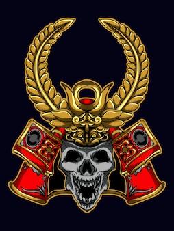 Tshirt illustratie ontwerp samurai schedel