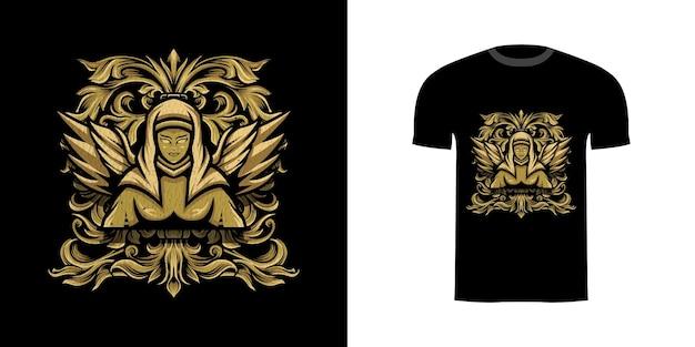 Tshirt ontwerp illustratie hoek met gravure ornament