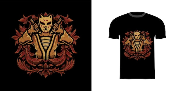 Tshirt ontwerp illustratie kitsune krijger met gravure ornament