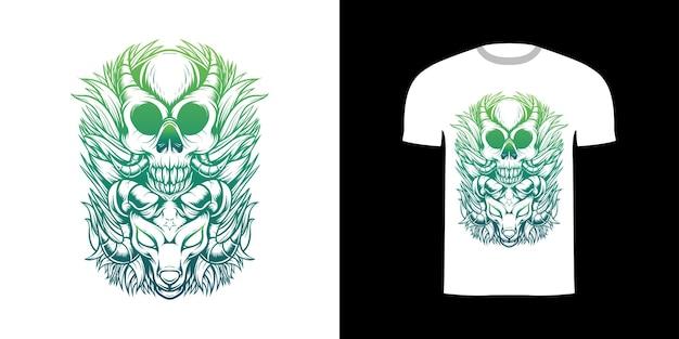 Tshirt ontwerp illustratie schedel en demon schapen